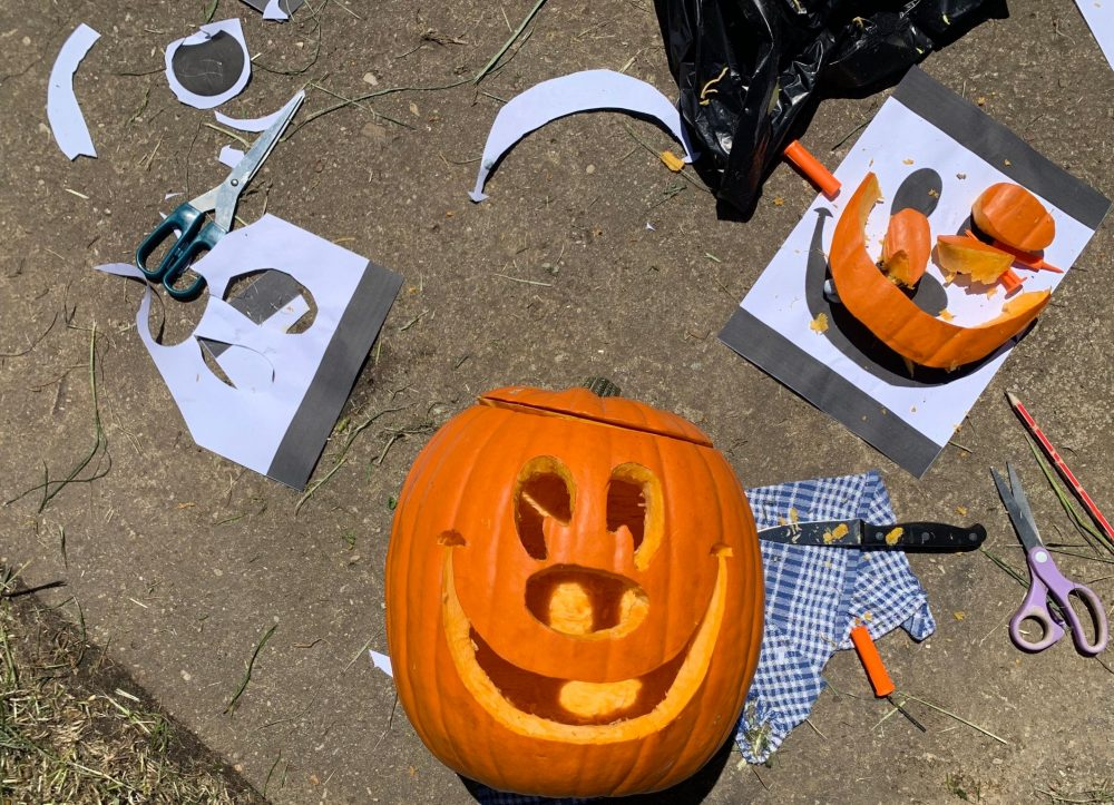 Carving a Disney Mickey pumpkin for Halloween