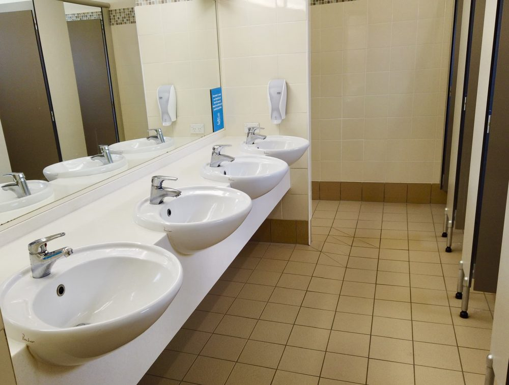 Treasure Island toilets and showers are spotlessly clean