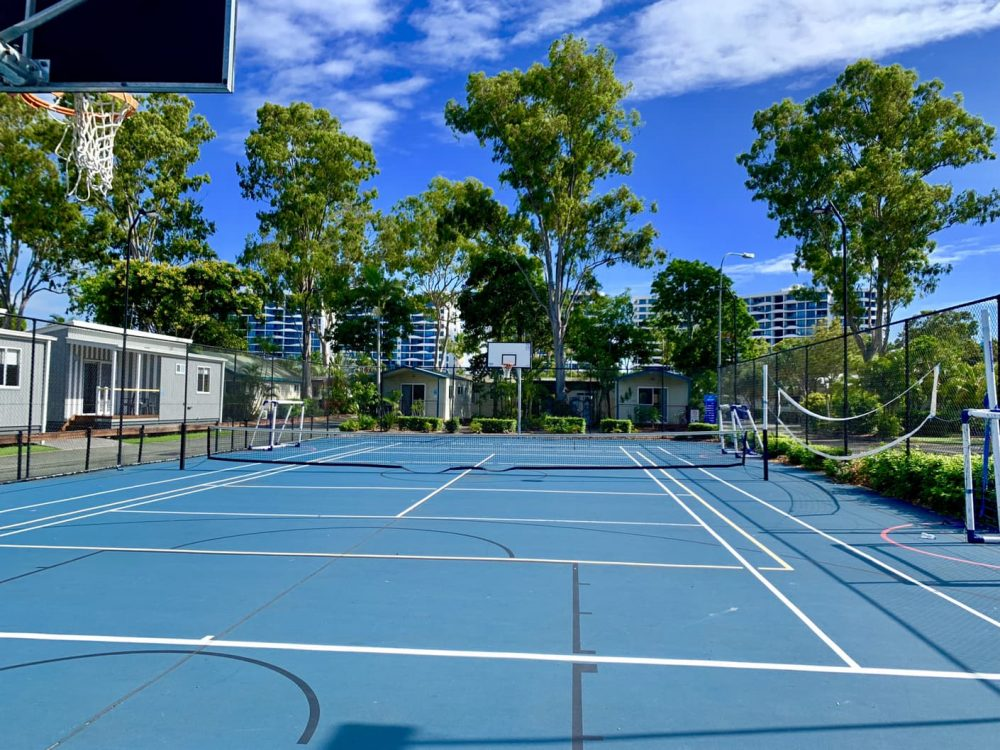 The sports court is great for tennis and basketball