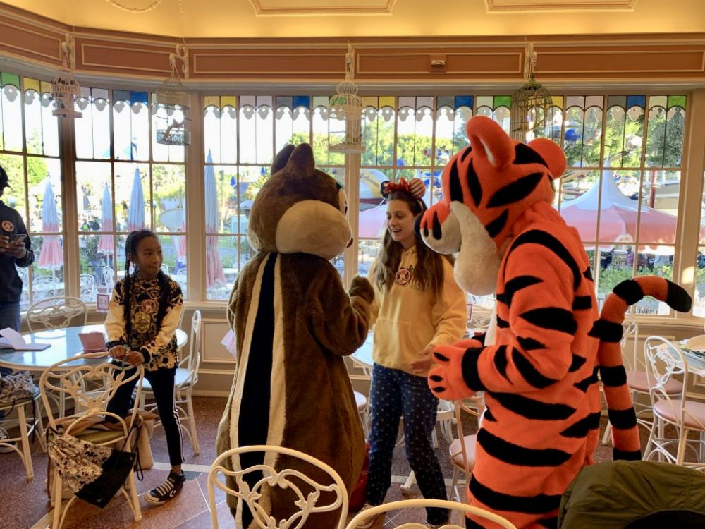 Meeting characters at the Disneyland Breakfast