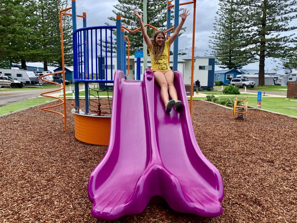 The NRMA Port Macquarie Breakwall children's playground is lots of fun!