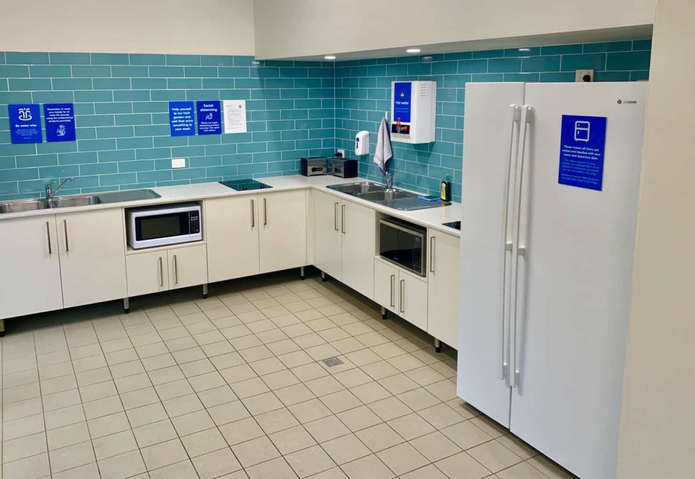 The indoor camp kitchen features lots of appliances