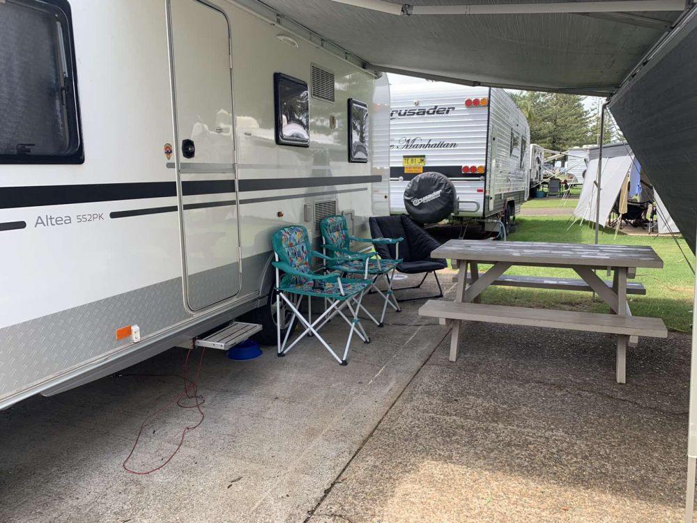 Our double concrete slab powered caravan site