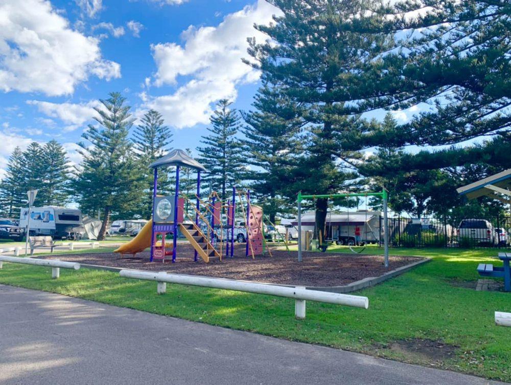 NRMA Stockton Beach Holiday Park has two playgrounds