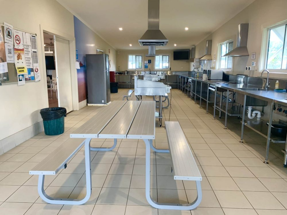 The camp kitchen is huge & well fitted-out