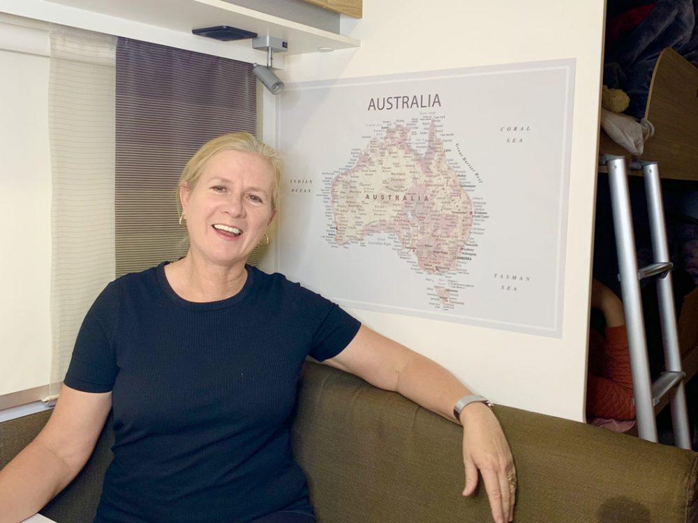 Stick on map of Australia for caravans