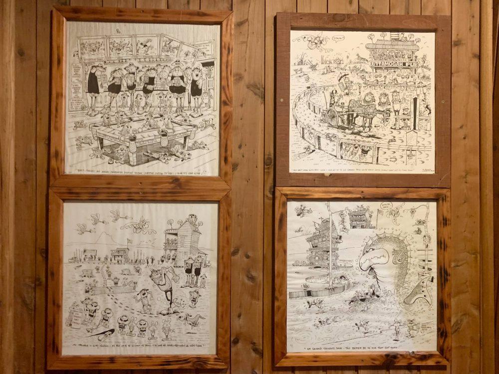 The original Ettamogah Pub comic strip is on the walls!